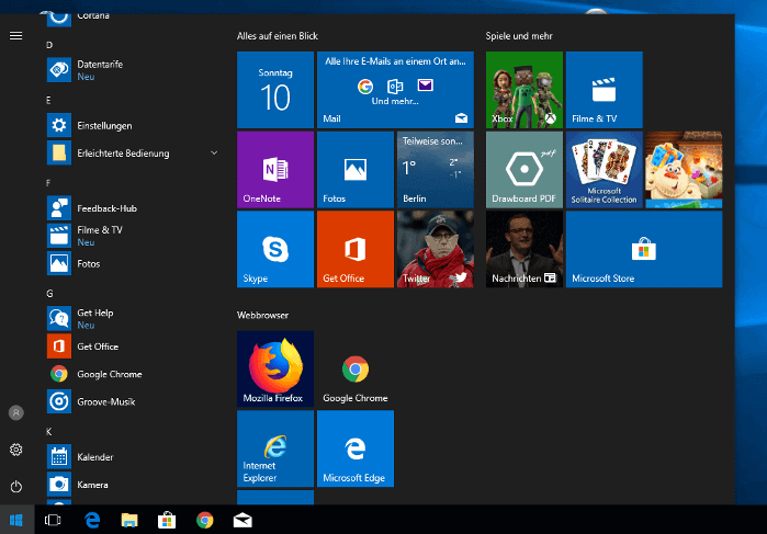 Das Windows 10 Startmenü - Standardeinstellung