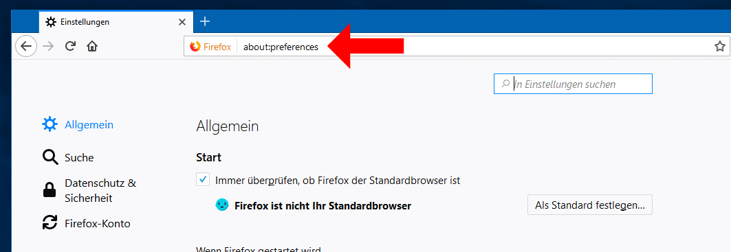 Firefox About Preferences