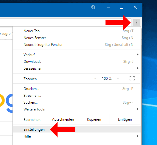 Google Chrome Einstellungsmenü aufrufen
