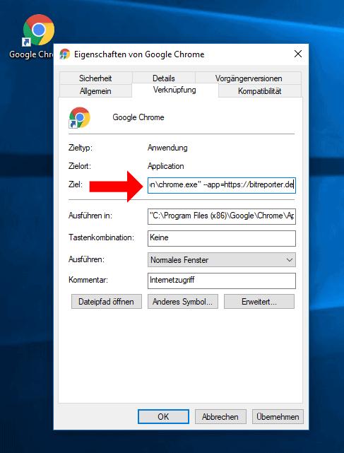 Google Chrome Eigenschaften der Verknüpfung