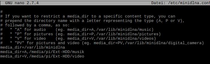 MiniDLNA Medienverzeichnis