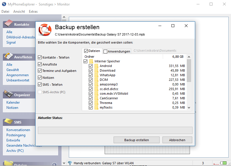 Android Backup mit MyPhoneExploerer - App Backup