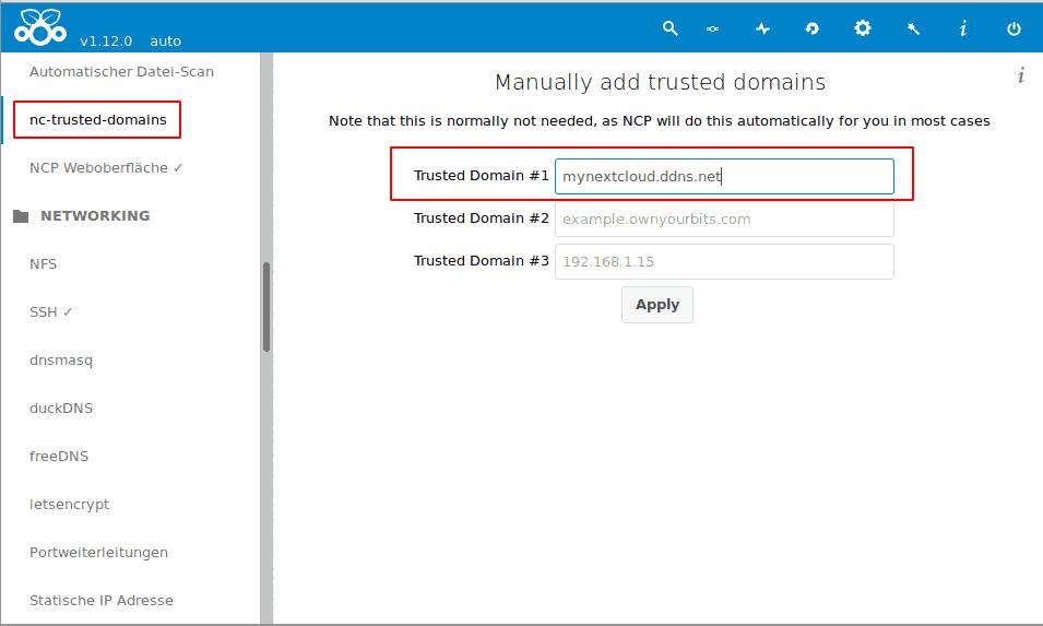 Nextcloudpi trusted Domain hinzufügen