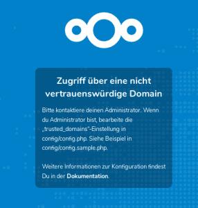 Nextcloud nicht vertrauenswürdige Domain