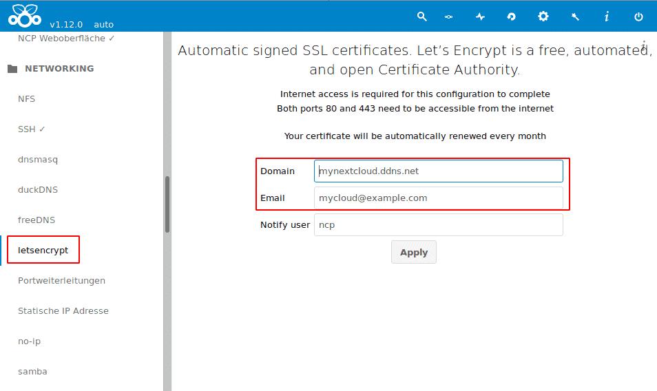 Nextcloudpi Lets Encrypt beantragen