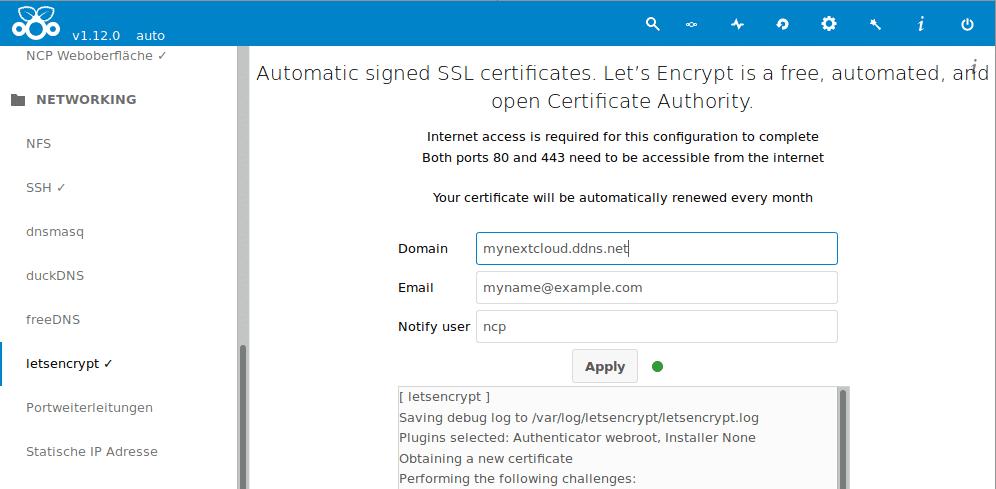 Nextcloudpi Lets Encrypt Zertifikat erstellt