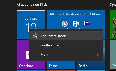 Windows 10 Startmenü - Kacheln lösen