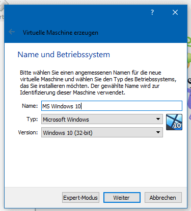 Virtual Box Name auswählen