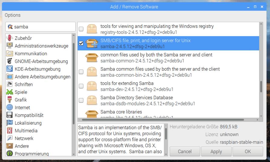 Samba auf dem Raspberry Pi installieren