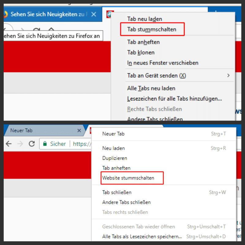 Browsertab stummschalten