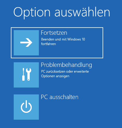 Windows Problembehandlung Optionen