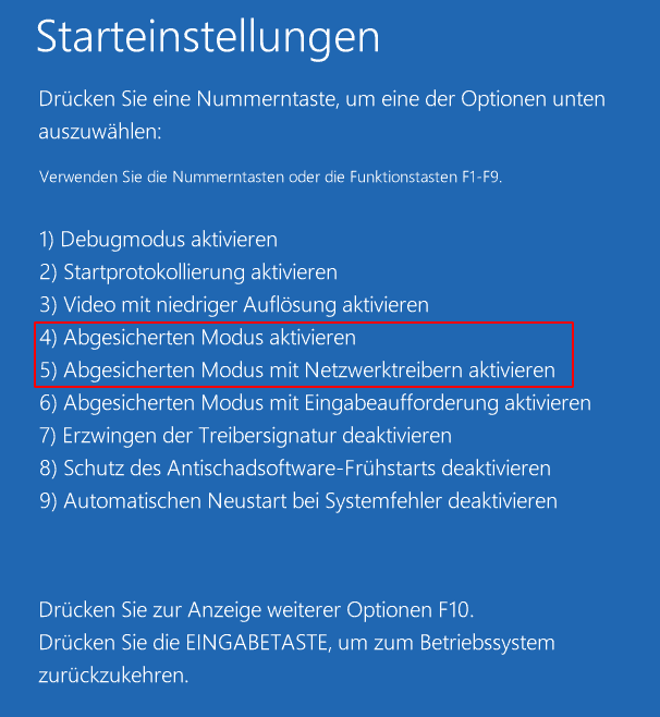 Windows 10 Startoptionen