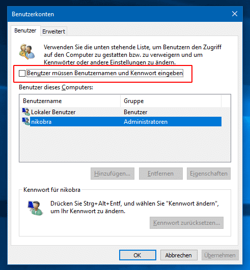 Windows 10 Benutzerkontenoptionen