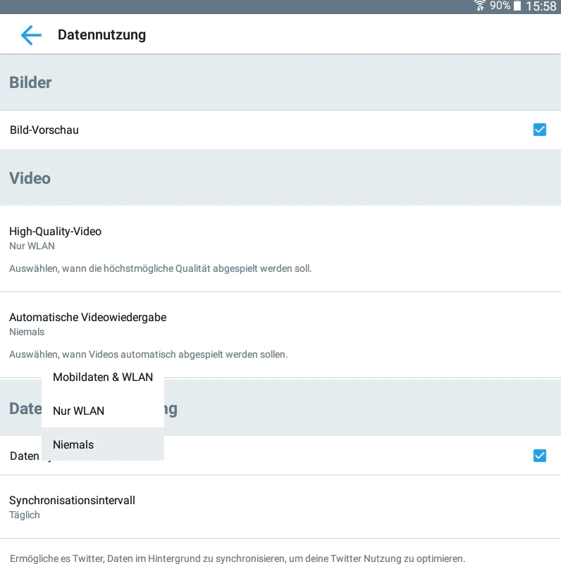 Twitter Autoplay Videos deaktivieren