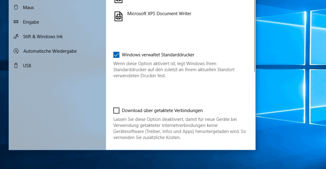 Windows 10 Standarddrucker Beitragsbild