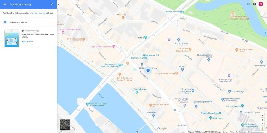 Google Maps geteilter Standort