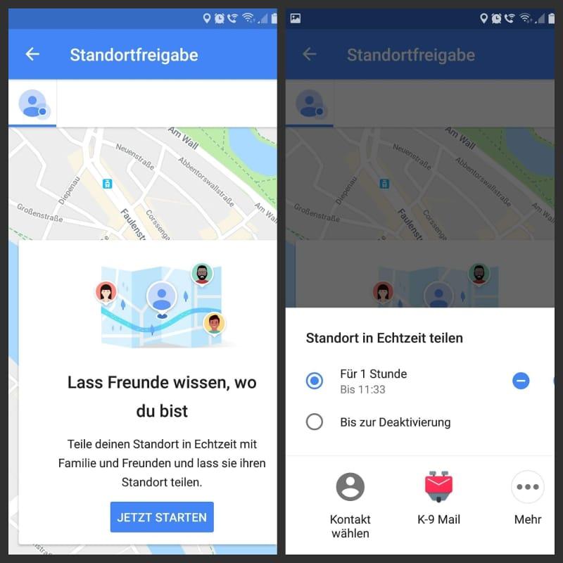 Standortfreigabe in Google Maps App einrichten