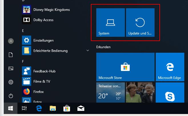 Windows 10 Einstellungen als Kacheln anheften