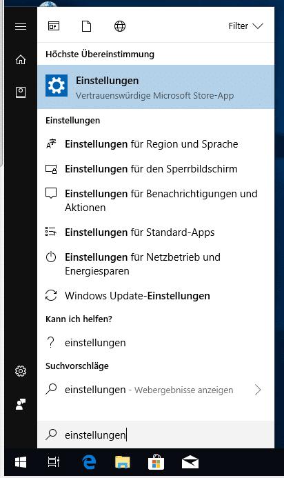 Windows 10 Einstellungen über Suche erreichen