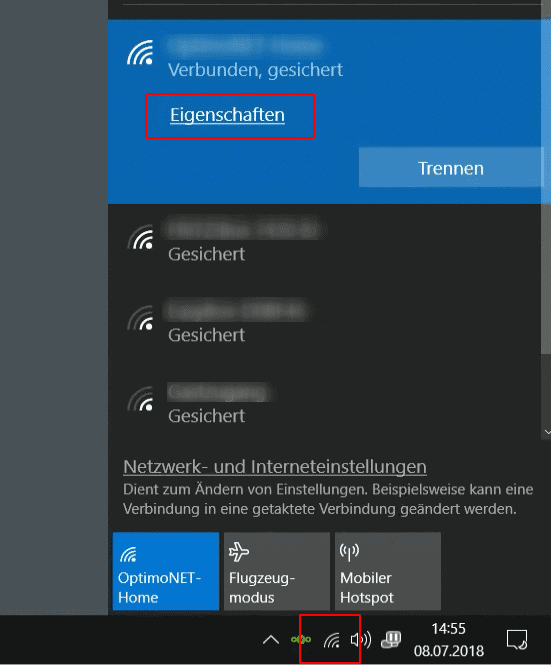 Windows 10 WLAN Eigenschaften öffnen