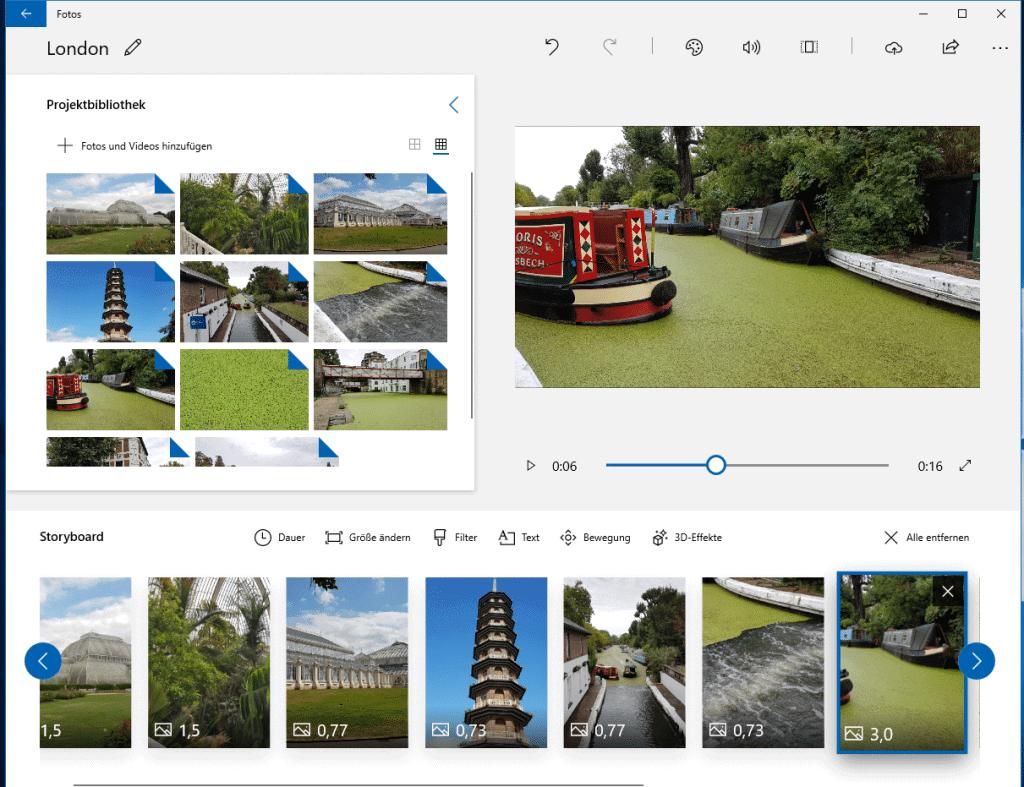 Videoclips aus Fotos erstellen mit Windows 10 Fotos App