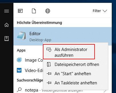 Editor als Administarto starten über Startmenü