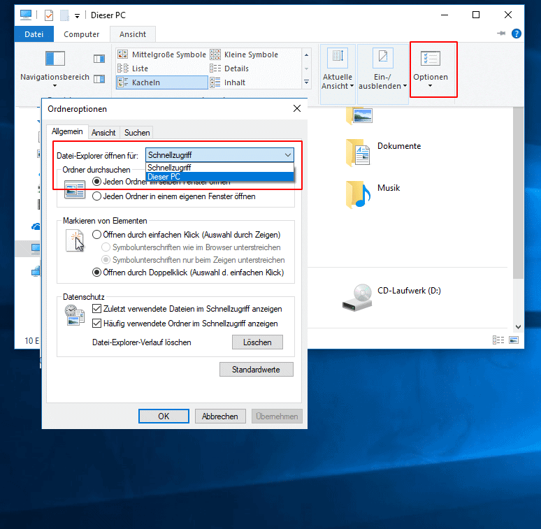 """Explorer in """"Dieser PC"""" Ansicht öffnen"""