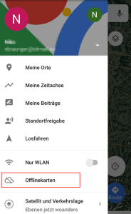 Google Maps Menü