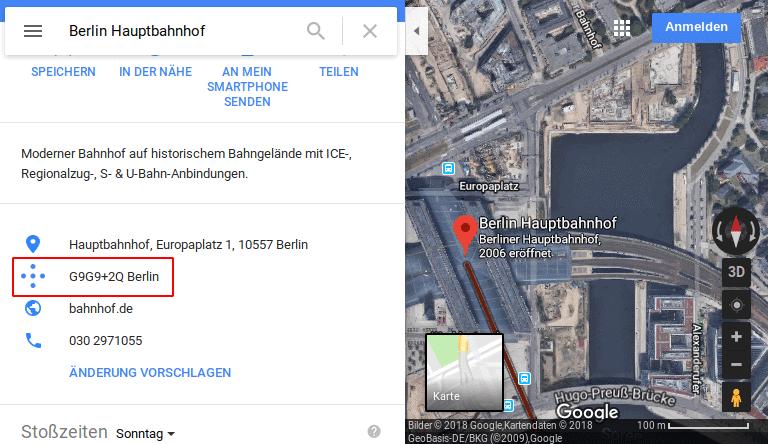 Plus Codes in Google Maps herausfinden