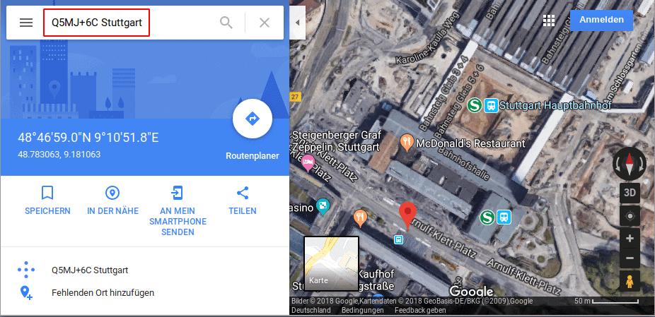 Pluscodes in Google Maps nutzen