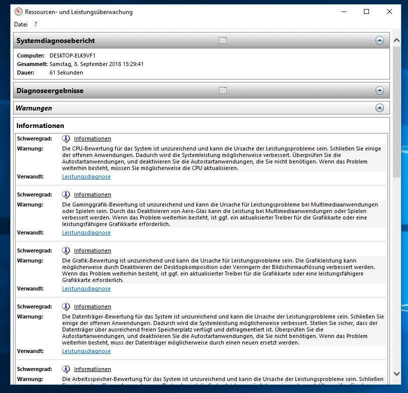 Windows 10 Leistungsbericht