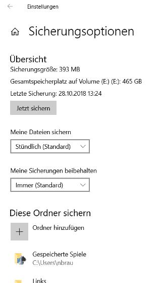 Dateiversionsverlauf Optionen