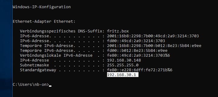 Standardgateway IP-Adresse