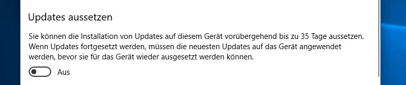 Windows Updates 35 Tage aussetzen