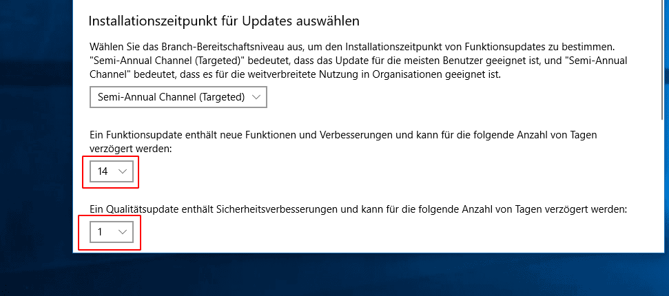 Windows 10 Updates verschieben
