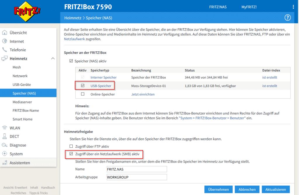 Fritzbox NAS aktivieren
