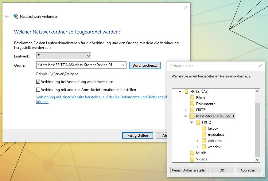 Fritzbox als Netzlaufwerk in Windows einbinden