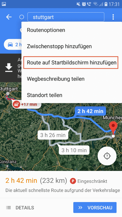 Google Maps Route auf Homescreen hinterlegen