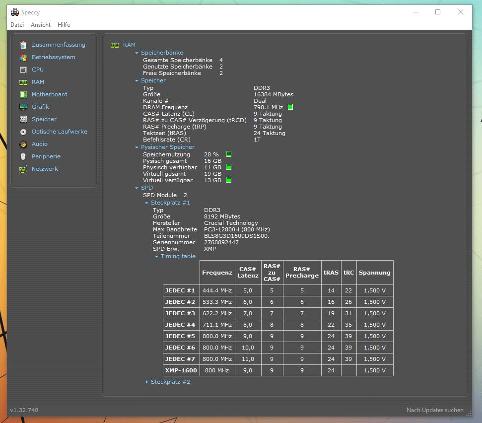 Speccy RAM anzeige