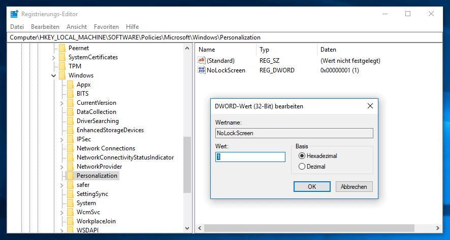 Mit Windows 10 Registry Sperrbildschirm deaktivieren