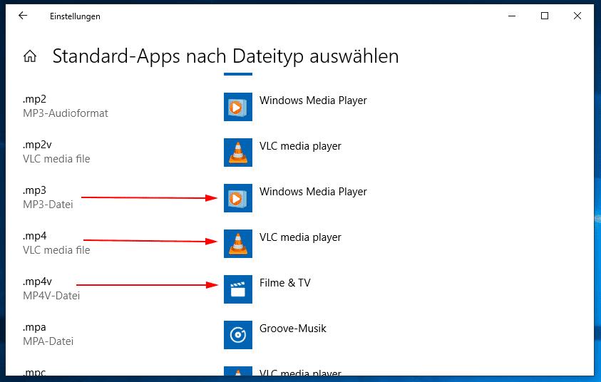 Apps nach Dateityp Auswahl