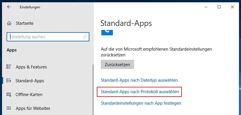 Apps nach Protokoll Einstellung