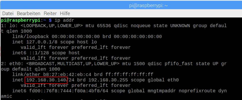 Raspberry Pi Ip Adresse anzeigen