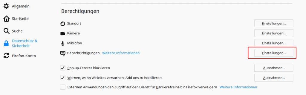 Firefox Einstellungen für Benachrichtigungen