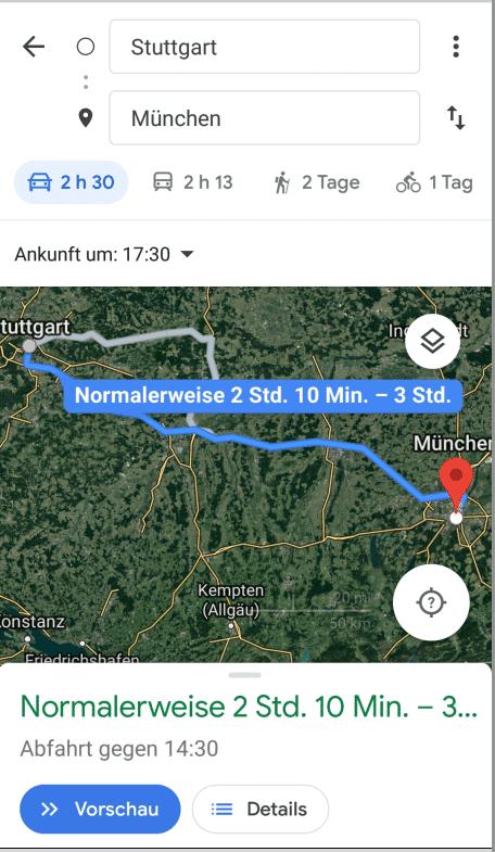Google Maps voraussichtliche Ankunftszeit