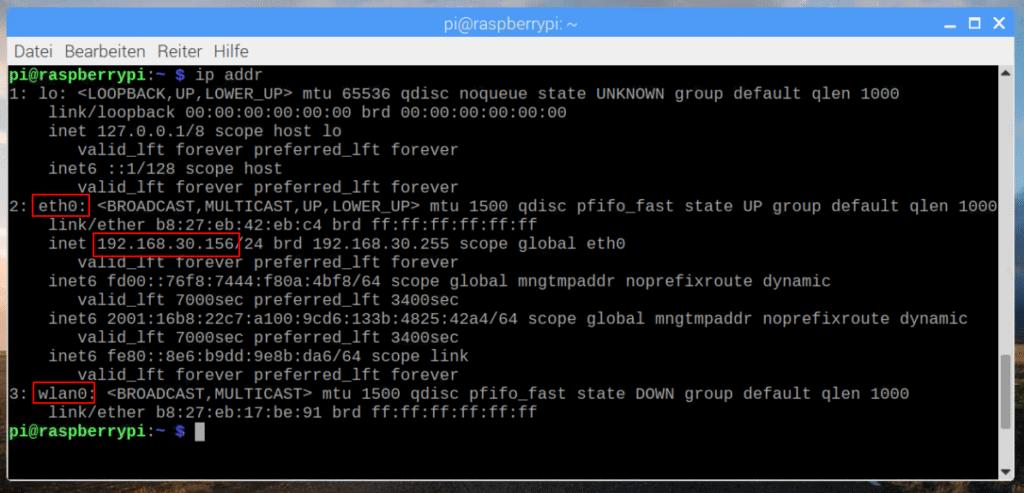 Raspberry Pi Ip Adresse über Terminal herausfinden