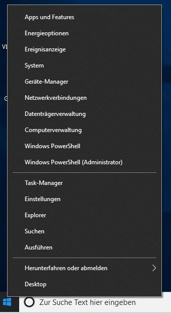 Windows 10 Admin-Menü