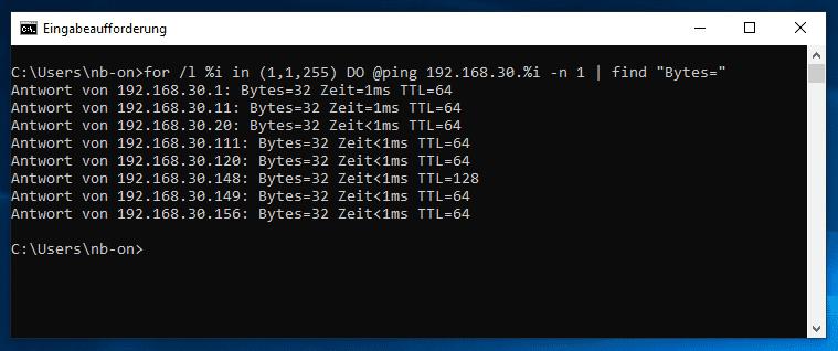 Windows 10 alle IP-Adressen pingen