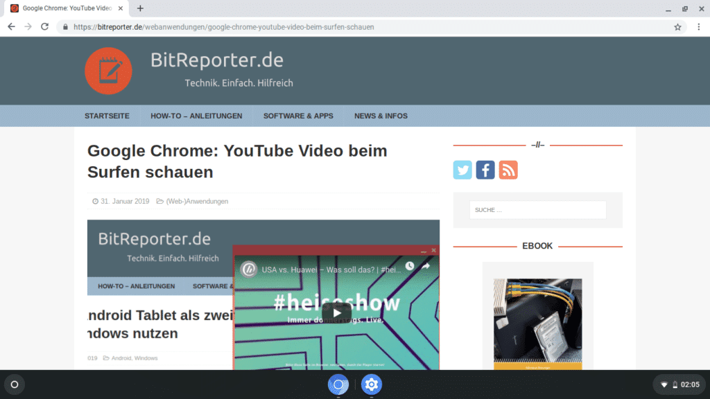 Bitreporter.de im Browser unter Cloudready