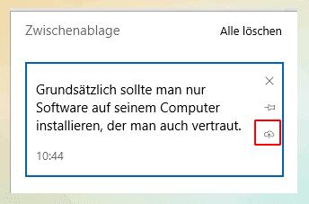Windows 10 Zwischenablage manuell synchronisieren